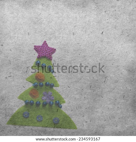 vintage wallpaper background with christmas tree - stock photo