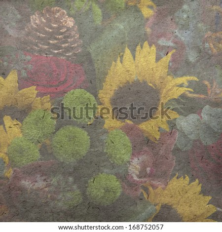 vintage wallpaper background with  sunflower - stock photo