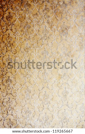 Vintage wallpaper / Old fashioned, run down wall painted with a stencil roller. - stock photo