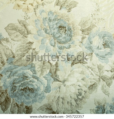 Vintage wallpaper with blue floral victorian pattern, square toned image - stock photo