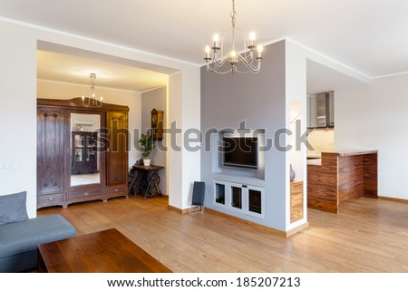 Vintage wardrobe in modern house with fireplace - stock photo