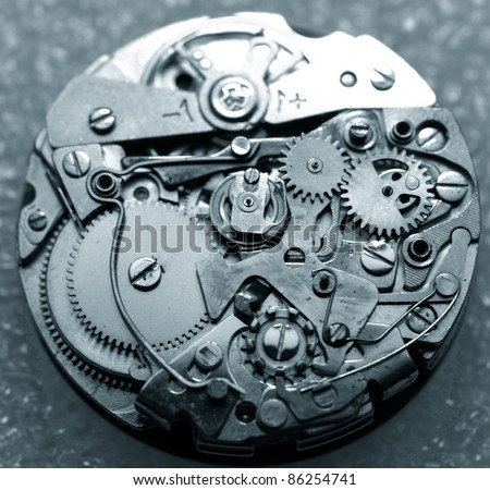 vintage watch machinery macro detail - stock photo