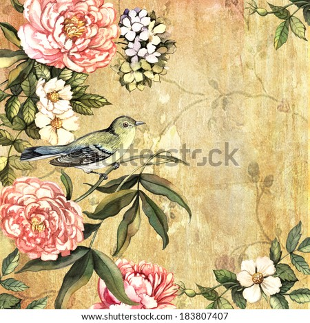 Vintage watercolor background with a bird. Hand painting. Illustration for greeting cards, invitations, and other printing projects. - stock photo