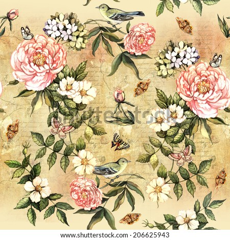 Vintage watercolor pattern with flowers and birds.  Hand painting. Seamless pattern for fabric, paper and other printing and web projects. - stock photo