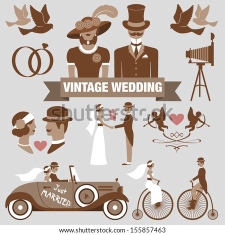 vintage wedding set - stock photo
