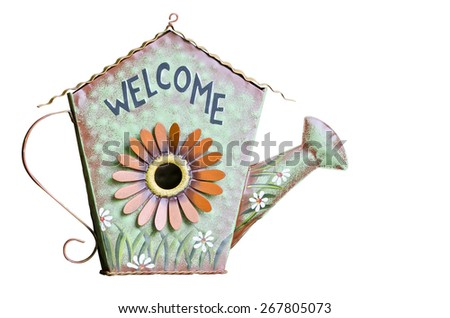 Vintage welcome sign isolated on white background - stock photo