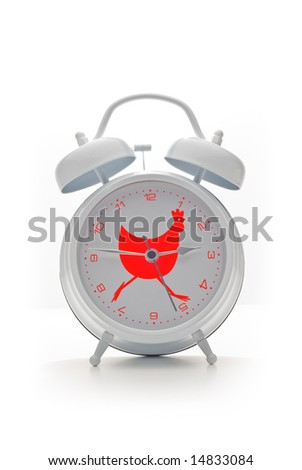 Vintage white alarm clock with red rooster design isolated on white background - stock photo