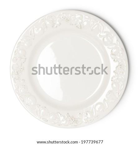 Vintage white empty plate on white background - stock photo
