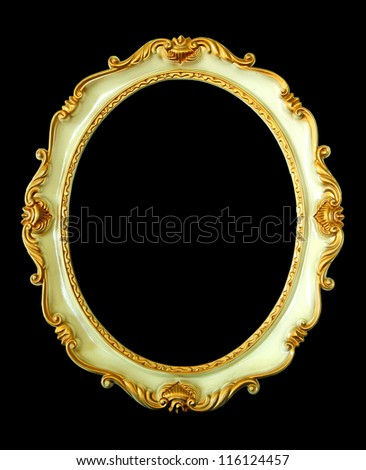 Vintage white frame isolated on black background - stock photo