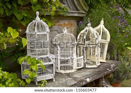 Vintage White Metal Birdcages - stock photo