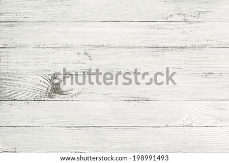 Vintage white wooden table top view. wood background - stock photo