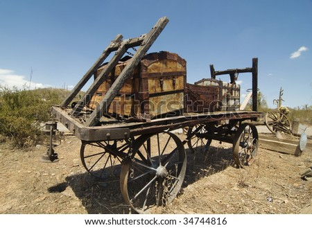 Vintage wild west horse and wagon - stock photo