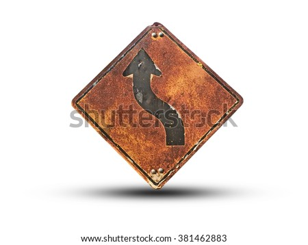 Vintage winding roadsign, old sign road - stock photo