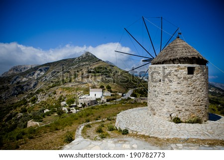 Vintage Windmill - Naxos, Greece - stock photo