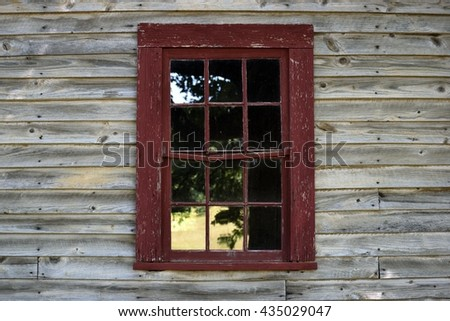 vintage window and wooden wall background - stock photo