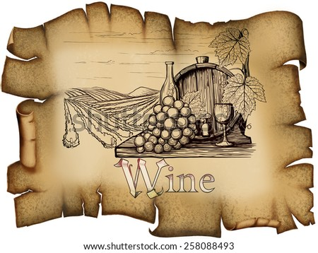 Vintage wine label on grungy backgrounds of labeled and picture - stock photo