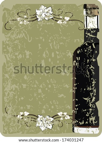 Vintage wine list with a bottle - stock photo