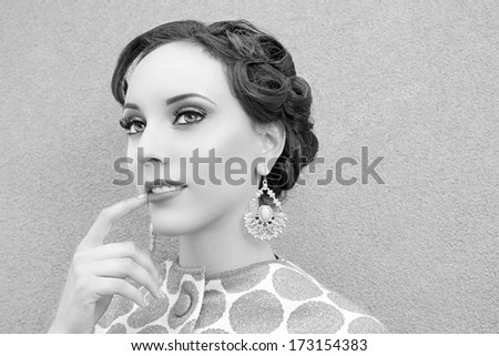 Vintage woman thinking - stock photo