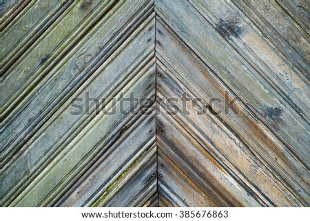 Vintage wood background. Grunge wooden weathered oak or pine textured planks. Green rustic fence. - stock photo