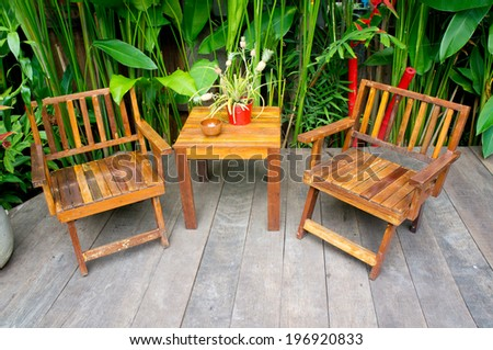 Vintage wood chair in the garden  - stock photo