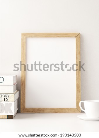 Vintage wood frame in interior - stock photo