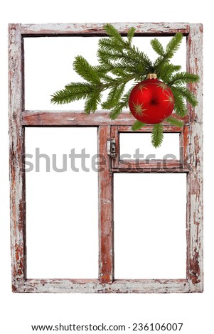 Vintage wood window, spruce twigs and Christmas ball - stock photo