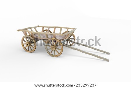 Vintage wooden cart isolated on white background - stock photo