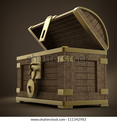 vintage wooden chest with gold high resolution 3d render - stock photo