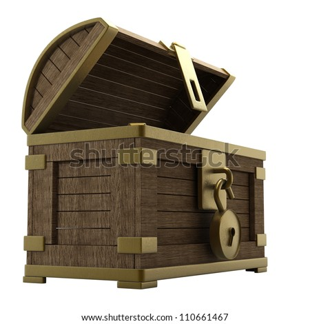 vintage wooden chest with gold isolated on a white background high resolution 3d render - stock photo