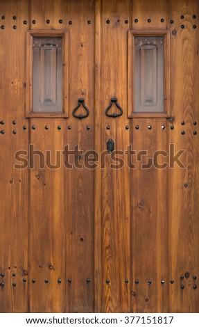 Vintage wooden door background - stock photo