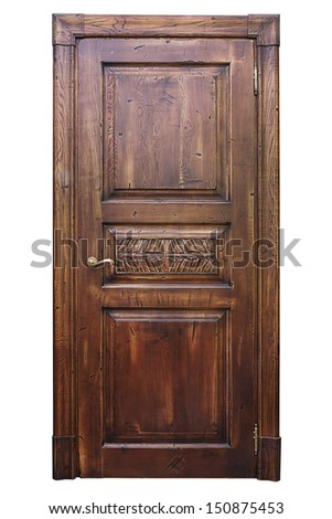Vintage wooden door isolated on the white background  - stock photo
