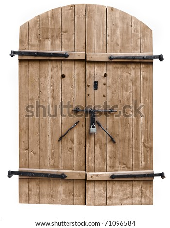 vintage wooden door on the white background - stock photo