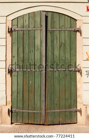 Vintage Wooden Door, Prague, The Czech Republic - stock photo