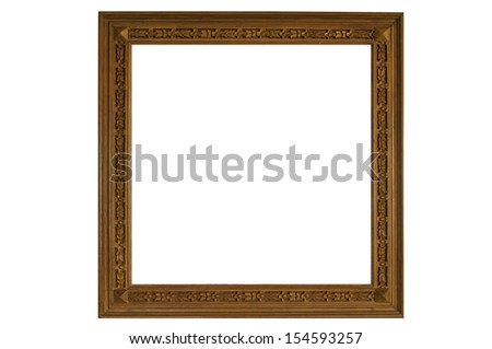 vintage wooden frame as white color background - stock photo