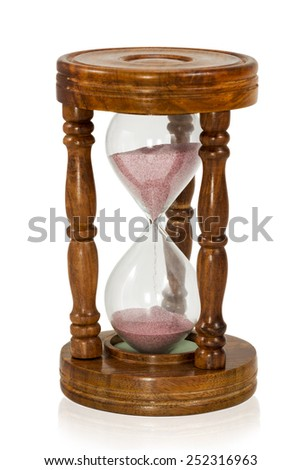 Vintage wooden hourglass with pink sand isolated on white background - stock photo