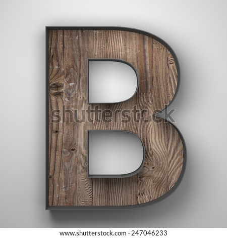 Vintage wooden letter b with metal frame - stock photo