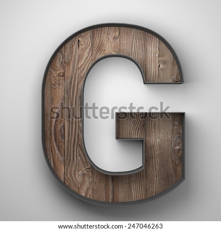 Vintage wooden letter g with metal frame - stock photo