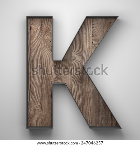 Vintage wooden letter k with metal frame - stock photo