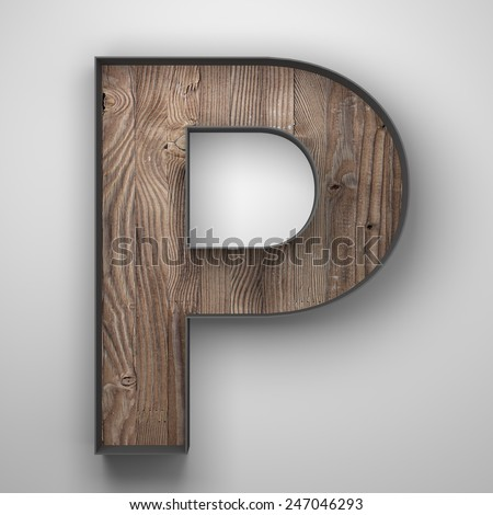 Vintage wooden letter p with metal frame - stock photo