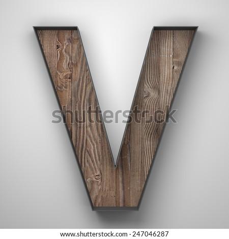 Vintage wooden letter v with metal frame - stock photo