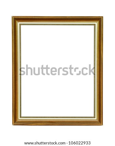 Vintage wooden picture frame isolated on white - stock photo