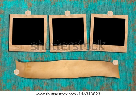 Vintage wooden picture frame on the floor. Space for text and images. - stock photo