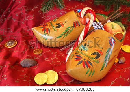 Vintage Wooden Shoes for St Nicholas Day - stock photo