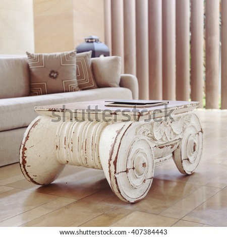 vintage wooden table - stock photo