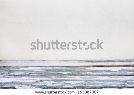 vintage wooden table with space for your photo montage - stock photo