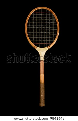Vintage wooden tennis racquet. - stock photo