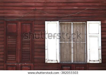 Vintage wooden wall & window - stock photo