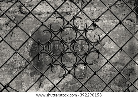 Vintage wrought-iron gate in old town of Vilnius, Lithuania - stock photo