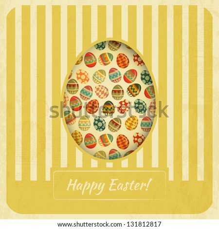 Vintage Yellow Easter Card. Eggs on striped Background. JPEG version. - stock photo