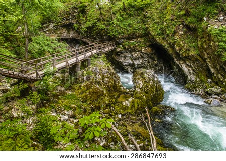 Vintgar gorge and wooden path,Bled,Slovenia - stock photo